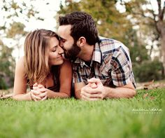 8 Very Cute Engagement Photo Ideas: #5. Stay Grounded - Take it to the floor! Lying close together on the ground is a fun pose for an informal photo.