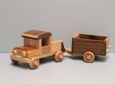 Eco Friendly Wooden Toy Truck with Trailer for Children Boys Reclaimed Wood Car Natural Unpainted Organic