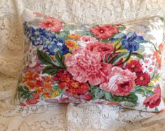 Pillow Case Machine Loom Floral Square Black Pillow Cover Vintage 80/'s with Zipper Decorative Cushion Pillow Cover Boho Colorful Flowers Big