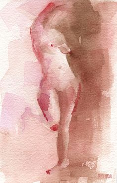 Watercolor Figure Painting of a Standing Woman - Red, Brown & Magenta by Beverly Brown