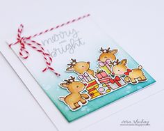 I used PPP Reindeer Friends. I stamped the images on Bristol paper and colored with Copic markers. I usedStitched Notes Diesfor my panel card and added Red-White twine to finish off my card.