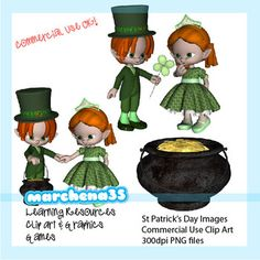 This clip art collection is commercial use friendly!This clip art for teachers collection includes 7 St. Patrick's Day themed images. In addition to the 6 images shown in the previews to the side of this page, I have also included a pixie on a white shamrock.The images are saved at 300DPI in PNG files with a transparent background.