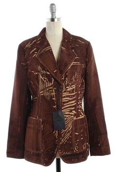 Check out NWT Prada Brown Giacca Abstract Print Jacket (46) on Threadflip!