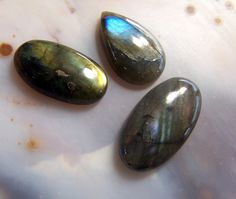 Rainbow of fire 3 Labradorite Cabochons   60.35  by CoyoteRainbow, $30.00