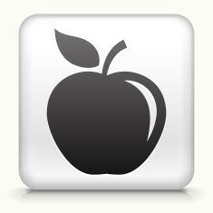 Square Button with Apple royalty free vector art vector art illustration