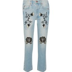 Bliss and Mischief Conjure embroidered high-rise straight-leg jeans (€605) ❤ liked on Polyvore featuring jeans, high waisted denim jeans, denim straight leg jeans, embroidery jeans, high rise straight leg jeans and high waisted jeans