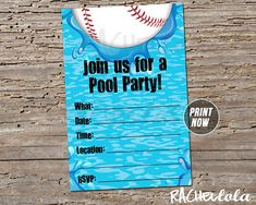 Baseball Pool Party, Birthday Invitation, Swim, End of season team party, Instant digital download, Fill in the blank, Printable template