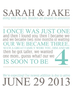 Printable Pregnancy Announcement 'I once by LifesLittleAdventure, $10.00