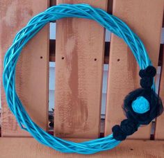 Robin Egg and Black Wicker Wreath by RosemaryTwine on Etsy, $20.00