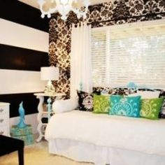 Teen Girl Room.  Love the pop of color & the walls.