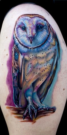 owl tattoo-- I fell in love as soon as I seen it,,, has good detail and the color choices make it unique nd kinda trippy <3