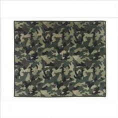 Green Camo Military Accent Floor Rug