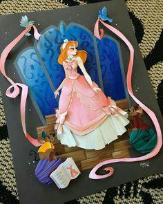 Ryan W Riller Disney Cinderella Disney Art Diy, Disney Artwork, Disney Crafts, Disney Fan Art, Disney Fun, Disney Drawings, Disney Girls, Paper Cutting, Cut Paper