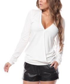Look at this Lemoniade Ecru Long-Sleeve V-Neck Top on #zulily today!