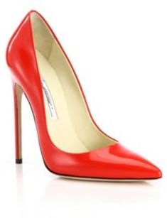 $795, Red Leather Pumps: Brian Atwood Point Toe Patent Leather Pumps. Sold by Saks Fifth Avenue. Click for more info: https://lookastic.com/women/shop_items/167765/redirect