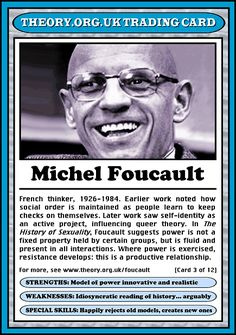Michel Foucault Trading Card Strengths: Model of power, innovative and realistic. Weaknesses: Idiosyncratic reading of history (arguably). Special Skills: Happily rejects old models, creates new ones (Card 3)