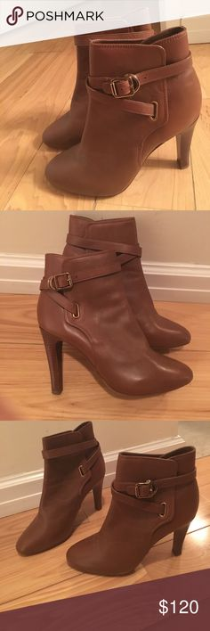 Tory Burch booties Tory Burch brown booties. Only worn inside the house once. Comes with dust bag. Tory Burch Shoes Ankle Boots & Booties