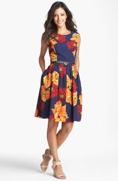 fit and flare dresses for women   Taylor Dresses Belted Taffeta Fit & Flare Dress For Women