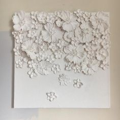 """White floral cascade flower wall sculpture Dimensional flower sculpture of painted faux flowers on 12 """"x canvas wrapped canvas Plaster Crafts, Plaster Art, Clay Crafts, Clay Wall Art, Ceramic Wall Art, Clay Art, Wall Tile, Paper Flower Art, Paper Flowers"""