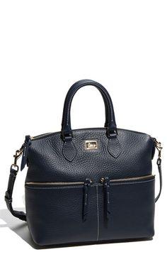 Navy blue leather satchel, Dooney & Bourke