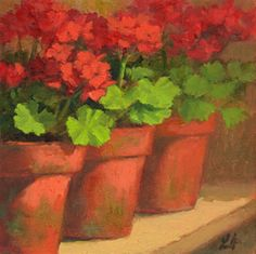 en el patio  Potted Geraniums by Linda Jacobus