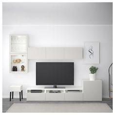 IKEA - BESTÅ TV storage combination/glass doors walnut effect light Ikea Tv Wall Unit, Home Living Room, Living Room Decor, Ikea Living Room Furniture, Tv Wanddekor, Living Room Tv Unit Designs, Muebles Living, Tv Wall Decor, Tv Storage