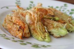 Cheese Stuffed Zucchini Flowers via @Aggie's Kitchen