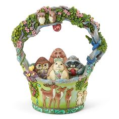Jim Shore's Woodland Easter Basket & Eggs Figurine