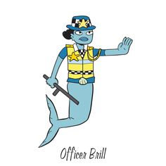 """Officer Brill is one of the characters to find in """"Mermaid Island"""", one of the search-and-find jigsaw puzzles I'm offering on Kickstarter. The image first appeared in my book """"Where's the Mermaid?"""". Follow the link for more info.  #searchandfind #jigsawpuzzle #jigsaw #puzzle #childrensbook #kidlit #wheresthe #seekandfind #cartoon #cartoonart #seekandfind   #mermaid #island #beach #paradise #animals #gorilla #zebra #merfolk #tropical #officer #police #policewoman #wpc #truncheon #stop #"""