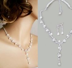Wedding Jewelry Set Bridesmaid Necklace Pearl Bridal Earrings Vintage