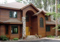 5 4 8 Tight Knot Cedar Rabbeted Bevel Sikkens 005 Natural Oak 072 Butternut Stone Houses House Exterior Cedar Siding