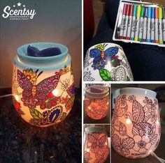 Adult coloring just got awesome! Color your own Scentsy wax warmer!!! Just use permanent markers to color and rubbing alcohol to start over again. Reimagine Scentsy warmer available April 1, 2016.