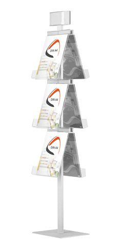 Der freistehende Prospektständer Easy-Sign ist edel im Aussehen und hoch funktionell dank dem fest verbauten Logo-Bereich. Er kann mit 3, 4, 6 oder 8 DIN A4 Prospekten, je nach Ausführung, bestückt werden. Die Logofläche kann mit einem...
