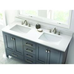 Home Decorators Collection 61 in. W Engineered Quartz Double Basin Vanity Top in Winter White with White Trough Basins-62004 - The Home Depot