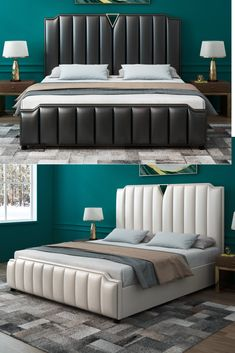 Rich dark and white leather bed frames to handsome ivory style designs Simple Bedroom Design, Luxury Bedroom Design, Bedroom Closet Design, Bed Back Design, Bed Frame Design, Bed Headboard Design, Headboards For Beds, White Leather Bed Frame, Leather Double Bed