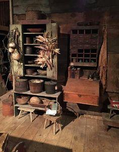 Avery Hill Farm Primitive Hutch, Primitive Living Room, Primitive Furniture, Country Primitive, Prim Decor, Country Decor, Farm Village, Primitive Gatherings, Larder