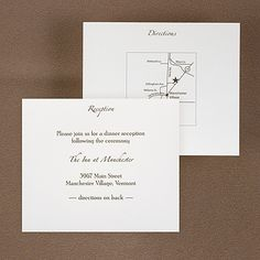 White Reception and Map Card - Reception cards are used to inform guests of the location of the event reception and/or dance. They can also be used separately for accommodations and/or directions.