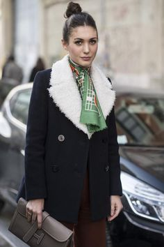 top knot print silk scarf & shearling lined coat #style #fashion #streetstyle