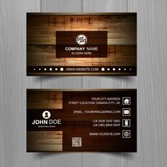Brown Business Card With Wooden Texture Free Vector