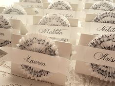 Heartfelt Music. 20 Custom Place Cards with Sheet Music Cocardes, Black and White. $30.00, via Etsy.
