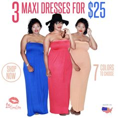 ? NEW DEAL ?   Now get 3 Maxi Dresses for ONLY $25 ! Just in time for summer ladies! Xo 3 Plus Size Maxi Dresses  http://www.15shopstop.com/3-plus-size-maxi-dresses/