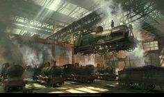 """""""Assassin's Creed: Syndicate"""" concept art by Hugo Puzzuoli Ville Steampunk, Steampunk City, Gothic Steampunk, Landscape Concept, Fantasy Landscape, All Assassin's Creed, Aesthetic Design, Environment Concept Art, Horse Drawn"""