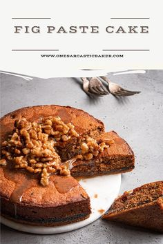 This fig cake is loaded with molasses spices and fig paste it is the perfect soft and tender companion to a crumbly and buttery oat crust. And in addition to bring it all to a perfect harmony are some walnuts in honey syrup. Fig Recipes, Fun Baking Recipes, Best Dessert Recipes, Sweet Recipes, Baker Recipes, Dessert Ideas, Easy No Bake Desserts, Fun Desserts, Delicious Desserts