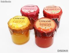 Tarro de mermelada 40 gr. de frambuesa, naranja, pétalos o tomate