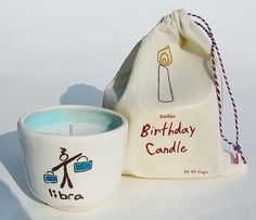 Zodiac Libra Cup Birthday Candle Personalized Gift Astrology Cup. $19.95, via Etsy.