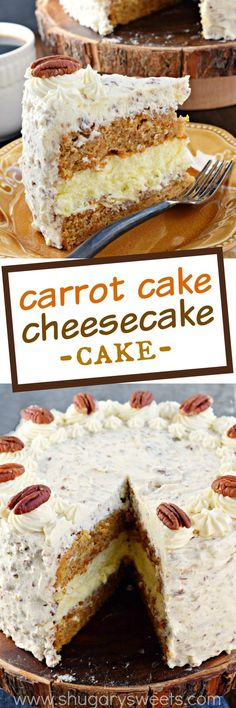 This Carrot Cake Cheesecake Cake recipe is a showstopper! Layers of homemade carrot cake, a cheesecake center and it's all topped with a delicious cream cheese frosting!: