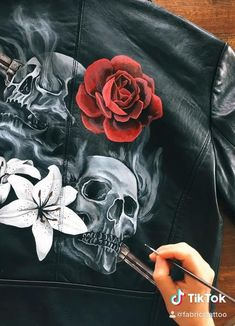 Custom hand painted leather Jackets to celebrate your Wedding on spooky Hallooween night Painted Jeans, Painted Clothes, Hand Painted, Painting Leather, Fabric Painting, Custom Clothes, Diy Clothes, Painted Leather Jacket, Custom Leather Jackets