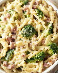 Macaroni met kaas, broccoli en ham