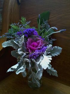 herbal purple silver kale lavender bouquet wm by A Special Day Designs, Placerville, California, via Flickr