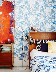 Martine and Jason Cook - The Design Files | Australia's most popular design blog. Sweet Home, Apartment Therapy, Apartment Design, Eclectic Wallpaper, Toile Wallpaper, Kids Bedroom, Bedroom Decor, Casa Kids, Creative Kids Rooms